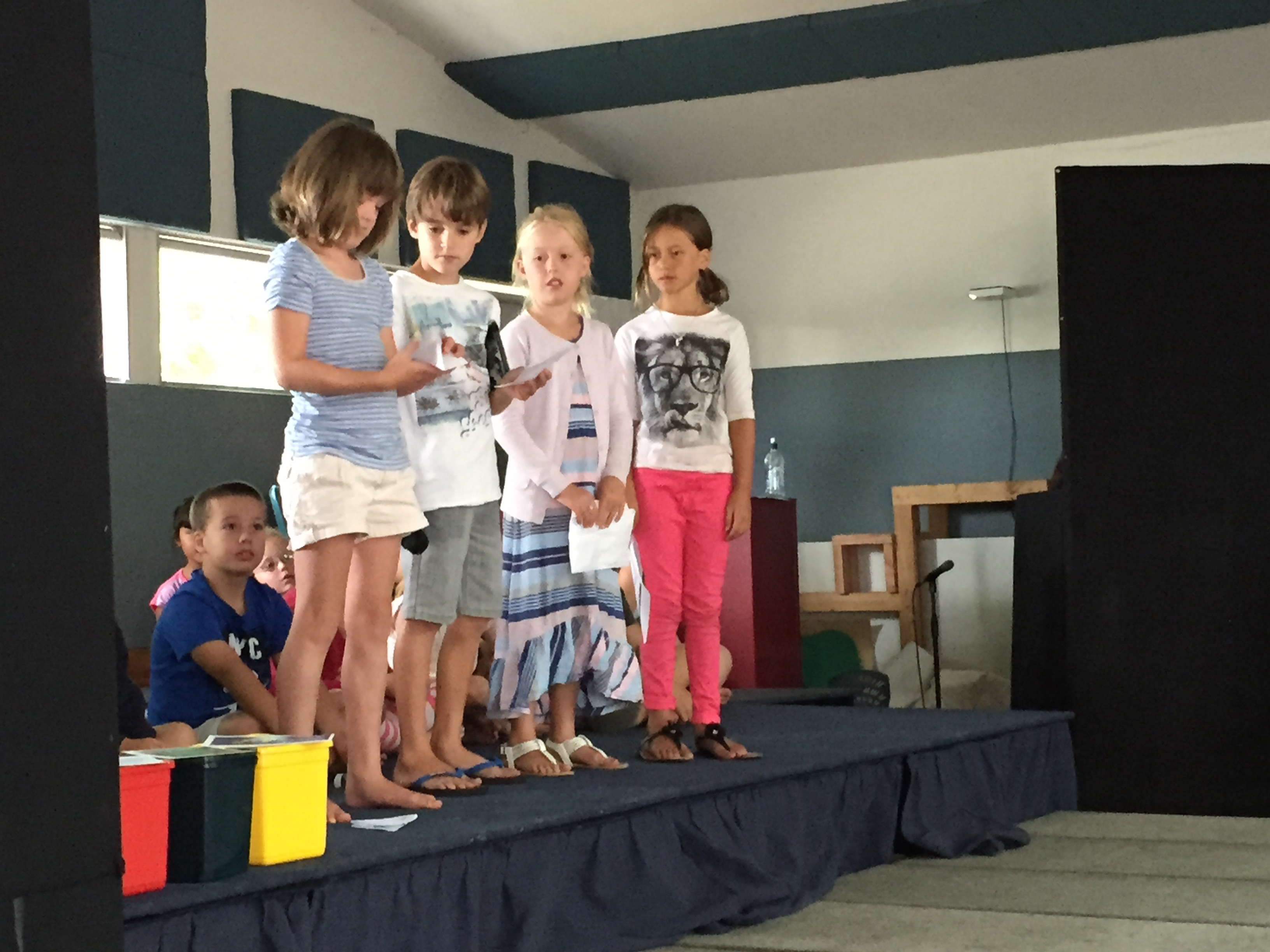 Room 7 kids presenting their reflections in the Pit